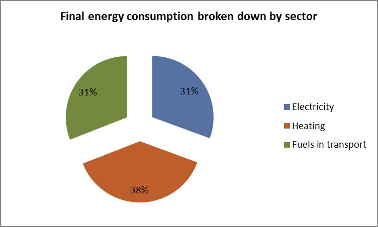 Final energy consumption broken down by sector
